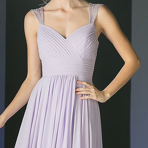 Lilac V-Neckline Prom Long Dress